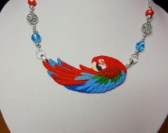 GREENWING MACAW! Hand sculpted polymer clay parrot necklace,greenwing macaw
