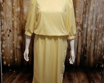 Vintage, 70's,  Yellow midi day dress with button detail, Medium