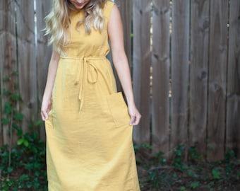 Handmade Mid-length Linen Dress