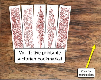 Printable bookmarks for book club favors, gifts, labels, holiday tags: Victorian 19th century collection, vol. 1