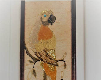 Vintage 60s, Mid Century Modern, Jeweled Parrot Birds, Pebble Art, Wall Hangings