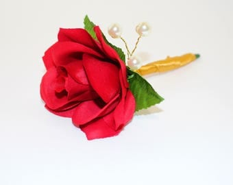 RED ROSE BOUTONNIERE, Silk Flower Boutonniere, Rose Boutonniere, Lapel Pin, Buttonhole, Groom Bout, Buttonholes, Wedding Accessories, Groom