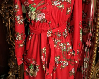 Vintage 1970's Leslie Fay Original Asian Print Dress