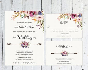 Wedding Invitation Set, Boho Wedding Invitation, RSVP Card, Details Card, Printable, Purple, violet, Watercolor, Wedding Suite