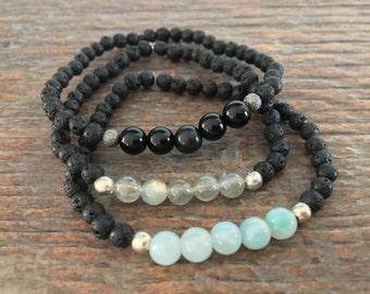 Tiny Lava Bead & Gemstone bracelet, stackable bracelet, diffuser bracelet, labradorite, black onyx, ammonite, gift for her, ONE bracelet