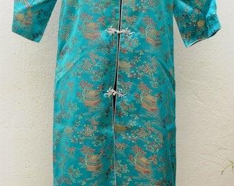 Vintage long turquoise chinese tunic dress Size M