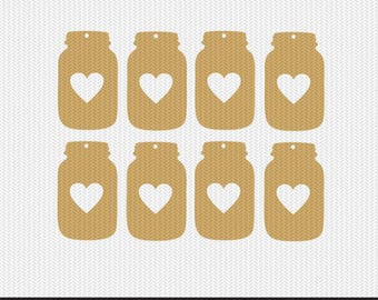 mason jar heart tags gift tags svg dxf jpeg png file stencil monogram frame silhouette cameo cricut clip art commercial use