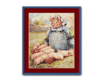 Aunt Pettitoes Cross Stitch Pattern, Beatrix Potter, Instant Download Cross Stitch Chart, Pigling Bland (BP047)