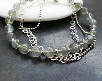 Labradorite Sterling Silver Bracelet, Set of Silver and Labradorite Bracelets, Double Bracelet, Sterling & Labradorite, Blue Flash Lab, 925