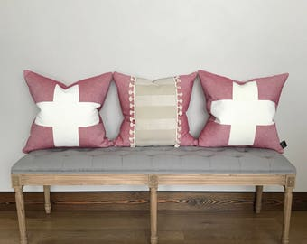 Pillow cover, red linen and cream chenille pillow cover, tassel