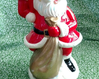 Rotating Paper Mache Wind Up Santa Clause with Bell - Plays Jungle Bells - Vintage Santa Music Box