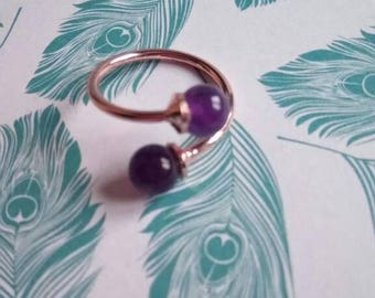Adjustable ring plated pearls rose gold Amethyst / ring gold / Zelina jewelry
