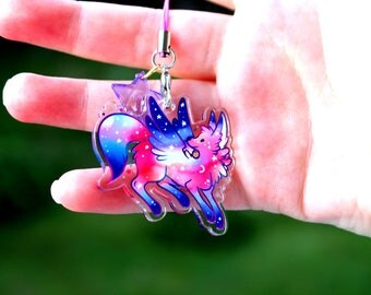 Cosmo the Star Gazer Wolf - Acrylic Charm 1.5 Doublesided Cute Furry Keychain Cellphone Strap