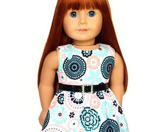 Doll Dress, Mini Dress, Floral, White, Turquoise Blue, Pink, Navy Blue, Summer, American, 18 inch Doll Clothes