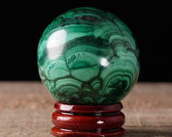 40mm MALACHITE Sphere - Malachite Crystal, Malachite Stone, Polished Malachite, Green Crystal Ball, Crystal Sphere, Malachite Ball 36742