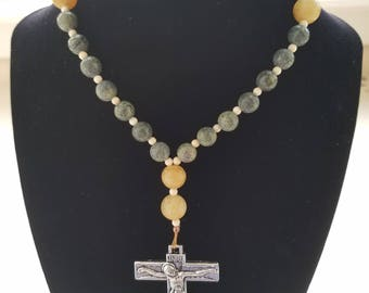 Anglican Rosary Episcopal Christian Prayer Beads - Green Russian Serpentine, Yellow Carved Stone, & Bone Beads