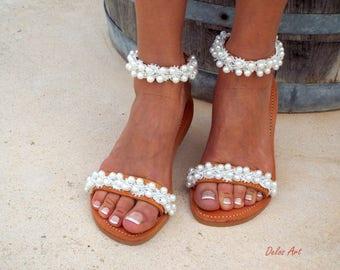 "Bridal sandals, leather sandals, White Beach Wedding Sandals,"" shining bride"" Pearl sandals, Greek Sandal,   Summer shoes"