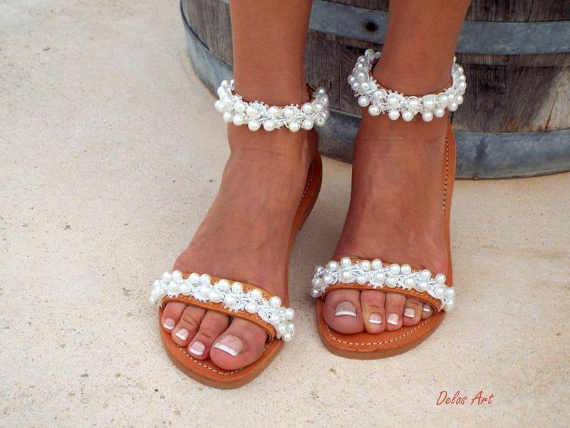 Bridal sandals leather sandals white beach wedding sandals bridal sandals leather sandals white beach wedding sandals shining bride pearl sandals greek sandal summer shoes junglespirit Gallery