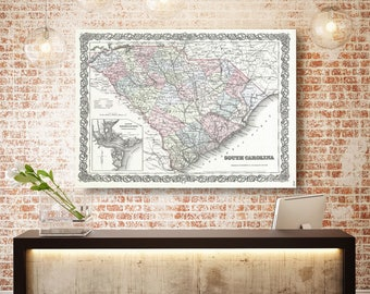 South Carolina State Map, South Carolina Map Canvas, Antiqued South Carolina Map, South Carolina Wall Decor, Map of South Carolina Canvas
