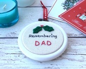 Remember Mom Dad Nan  at Christmas, Remembrance Xmas Decoration - Personalised Christmas Ornament, Sympathy Decoration, In memory of.