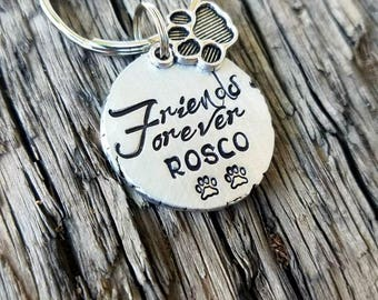 Personalized hand stamped pet memorial keychain. Custom dog memorial. Loss of cat. Dog loss gift. Sympathy gift. Memorial gift. Remembrance
