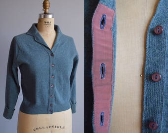 Lallybroch cardigan - vintage 1950s blue gray pinup sweater - 50s Scottish lambswool button front cardigan