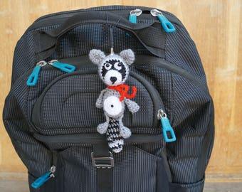 Crochet Raccoon keychain Raccoon toy Gift for boy Plush Raccoon Stuffed Animal Raccoon gift for him forest animal toy for boys raccoon doll