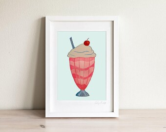 Milkshake Print, Milkshake Art, Girls Room Prints, Girls Room Decor, Wall Art for Girls, Kids Art, Kids Prints, Gifts for Girls, Framed