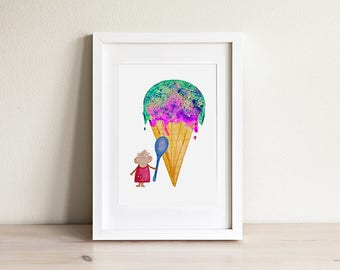 Kids Mouse Print, Kids Ice Cream Art, Ice Cream Print, Cute Art for Kids,Kids Mouse Art, Kids Art, Kids Print, Cute Art, Nursery Art, Framed