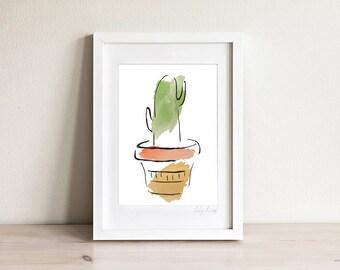 Framed Cactus Art Print, Succulent Art, Gardener Gift, Plant Art Print, Minimalist Line Art Print, Modern Line Drawing, 5 x 7, 8 x 10
