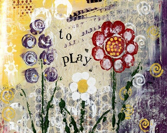 A3 Fine Art Print of 'Its okay to play' - from an original Mixed Media painting by Karen Lindsay