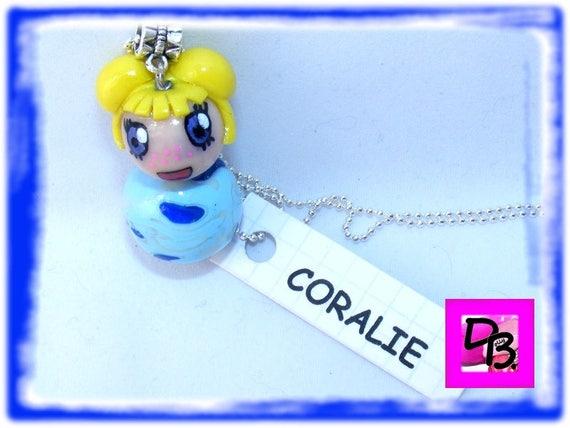 Necklace # # fimo # manga # kawaii # # jewel kokeshi doll necklace unique # gift girl