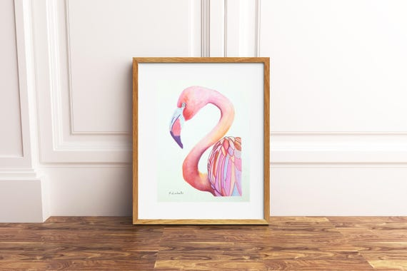 Pink flamingo, A5 giclée fine art print of original artwork, watercolor on paper, gift idea for babies, home office nursery decoration.