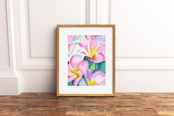 Pink Plumeria, original watercolor, frangipani flower, ooak, baptism gift idea, birth present for girl, wall decoration, nursery art.