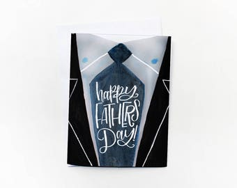 Father's Day Printable Card - Dad Suit Father's Day Card Blue