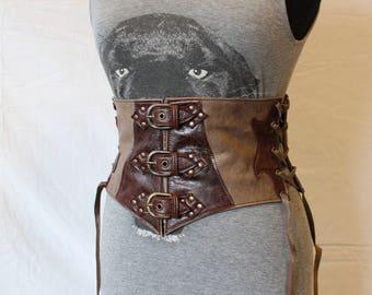 wide leather belt. waist belt. LARP's belt. medieval leather belt. Gypsy belt. Brown wide belt