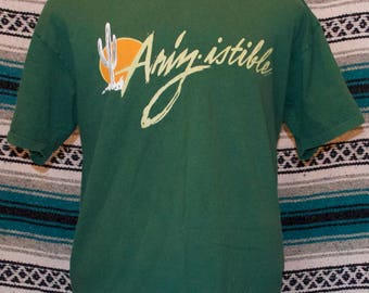 90s Arizona Ariz-istable Shirt Green Cacuts Single Stitch XL X-Large 100% Cotton