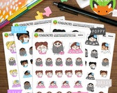 Sick Kawaii Girls - Shivering Crying Tissues Scary Sad Movie TV - Planner Stickers (K0054)