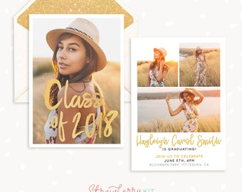Graduation Announcement Template, High school, College, Senior Photography Marketing Template, Senior Template, Graduation Templates, Grad