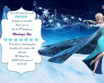 Disney Frozen Birthday Invitation Digital Download Elsa 4x6 and 5x7