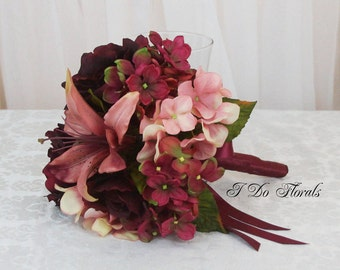 Burgundy Hydrangea Bridal Bouquet, Burgundy and Pink Brides Bouquet, Hydrangea Wedding Bouquet, Rose and Hydrangea Bridal Bouquet