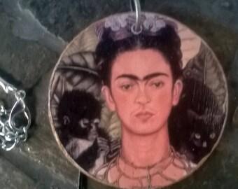 Decoupaged Frida Kahlo Necklace