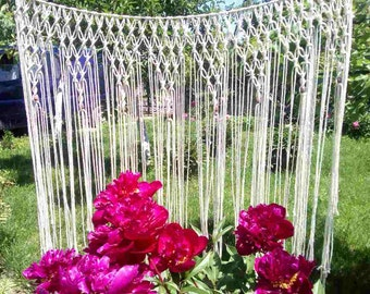 Macrame Curtain/Wedding Arch/Macrame Wall Hanging/ Large Bohemian Window/ Covering / Backdrop Headboard Curtain