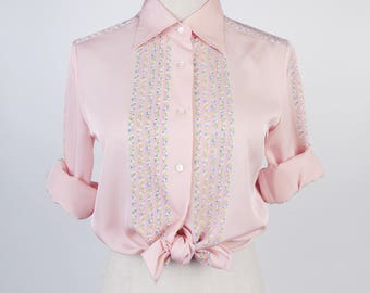 Graphic Striped Long Sleeves Pink Vintage Women Blouse Size M