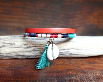 Colorful women bracelet, Girlfriend birthday gift, Orange mint handmade woven bangle with coral flat leather, seashell and tassel charms