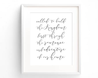 Love Quote Print - Called To Build The Kingdom - Typography Print - Minimal Print - Gifts Under 20 - Wedding Gift - Art Print - Home Decor