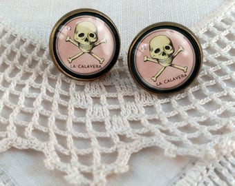 La Calavera- Loteria Skull Stud Earrings