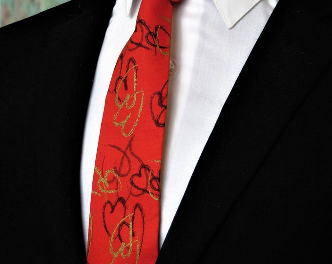 Valentines Day Gift U2013 Mens Red With Hearts Valentines Day Necktie. Alos  Available As A