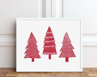 Red Christmas Print, Holiday Decorations, Christmas Trees Art, PRINTABLE Art, 5x7, 8x10 Instant Download, Seasonal Decor, Wall Art, Sign