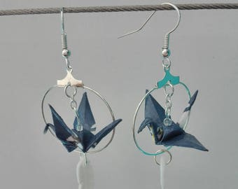 Crane origami and feather earrings